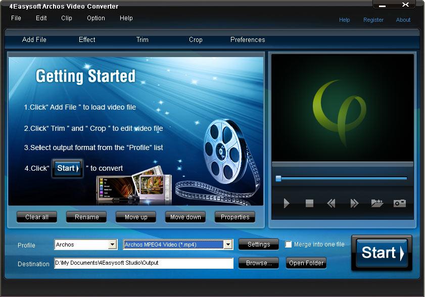 Screenshot of 4Easysoft Archos Video Converter
